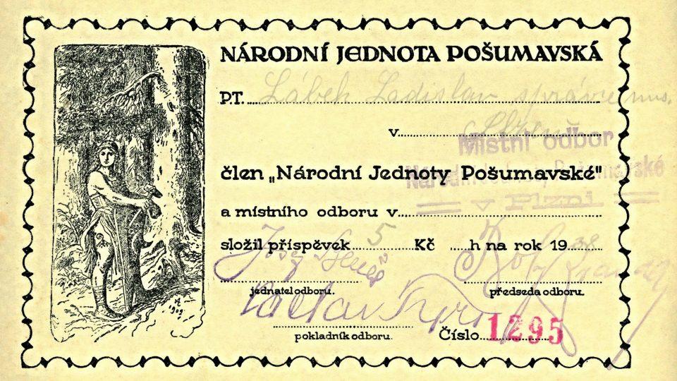 Průkazka členství Ladislava Lábka v Národní jednotě Pošumavské z roku 1938