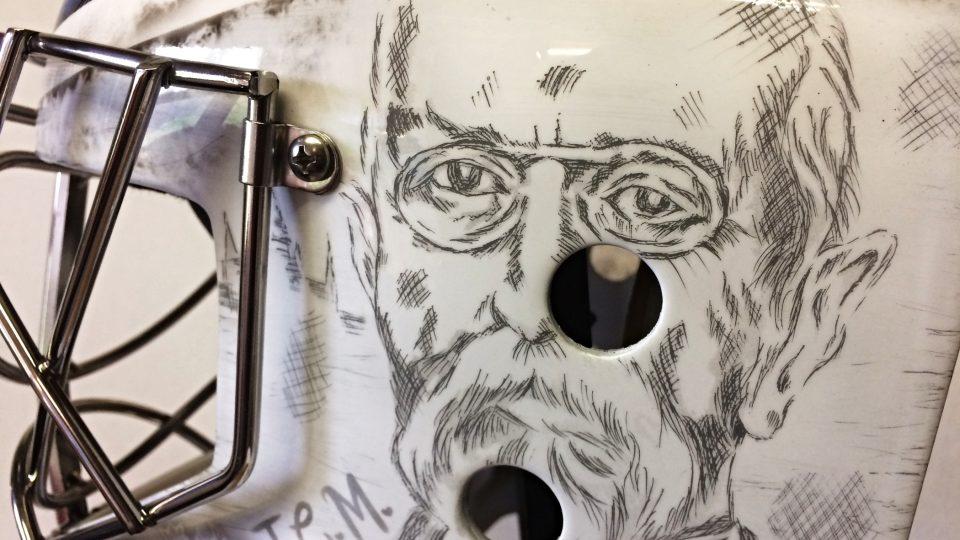 Perokresba je převedena na skelet masky.