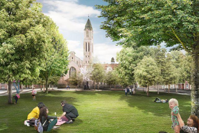 Vizualizace návrhu budoucí podoby Jiráskovo náměstí v Plzni